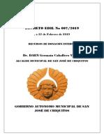 Decreto Edil Nº 007-2019 Recursos de Donación Interna