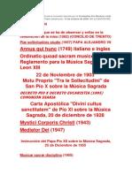 Lista de Documentos Litúrgicos MUSICALES