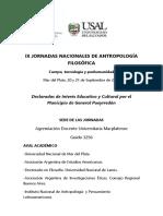 PROGRAMA IX Jornadas Nacionales de Antropología Filosófica