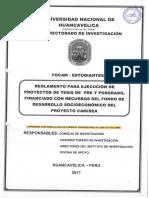 Reglamento Para Ejecucion de Proyectos de Tesis de Pre y Posgrado, Fianciado Por Recursos Del Fo