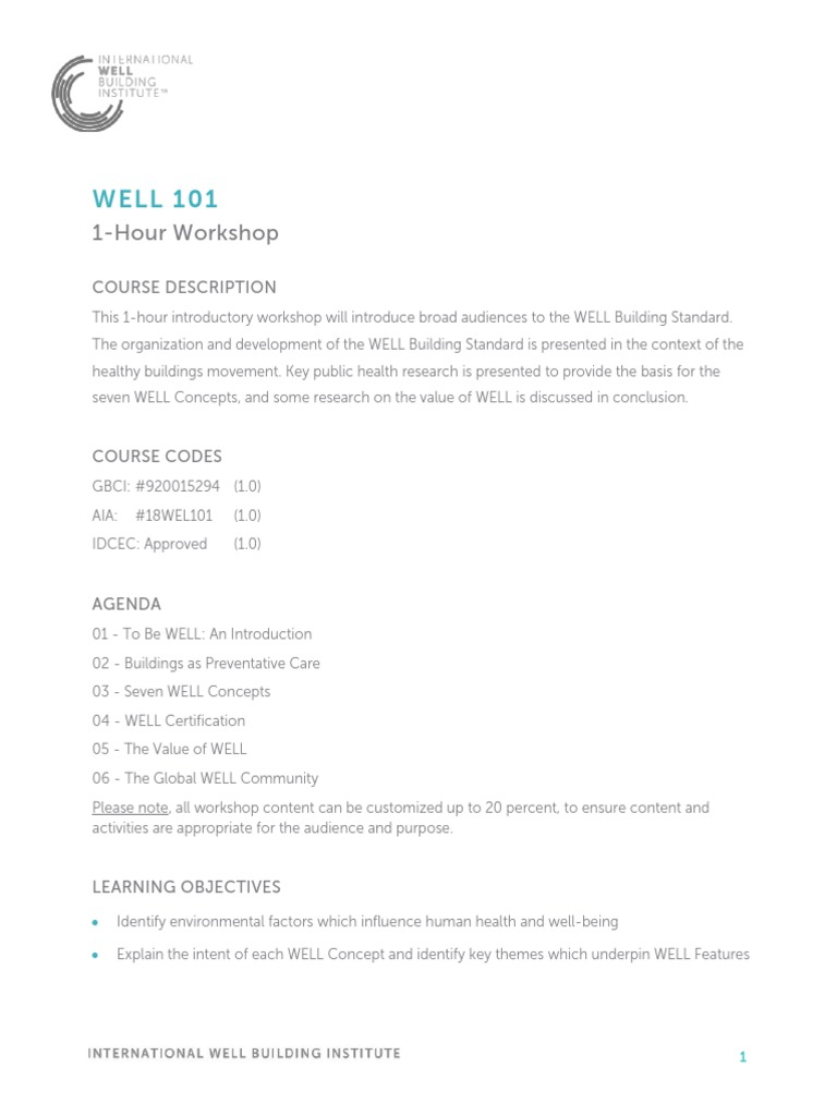 Course Brief_WELL Workshop_1 Hour_WELL 101