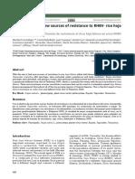 Identificación de nuevas fuentes de resistencia al virus hoja blanca en arroz-RHBV