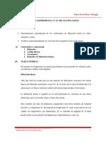 Práctica Experimental Nº 07. Diltación Lineal. Física de La Masa y La Energía. Ciclo 2019 - 0