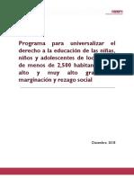 UNIVERSALIZACION SERVICIOS EDUCATIVOS 2019