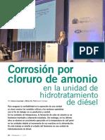 Corrosión por cloruro de amonio en unidad de hidrotratamiento de diésel