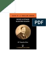 René Guénon, Maestro Masón. Mª Ángeles Díaz. Biblioteca Hermética