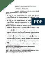 Máximos y Mínimos de Una Función Con El Criterio de La Primera Derivada