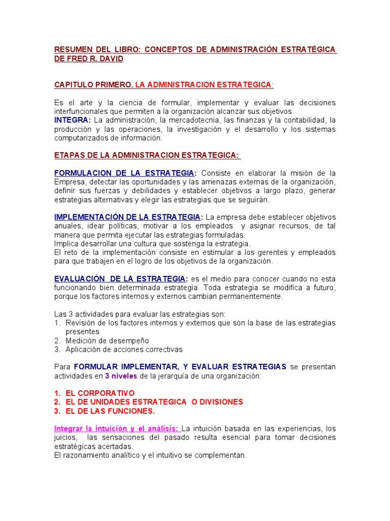 Conceptos De Administracion Estrategica Fred David 14 Edicion Ebook Download