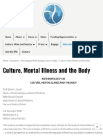 Culture, Mental Illness and the Body | Society for Psychological Anthropology