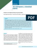 Prevalencia de Sobrepeso y Obesidad en Ninos Escolares Revista