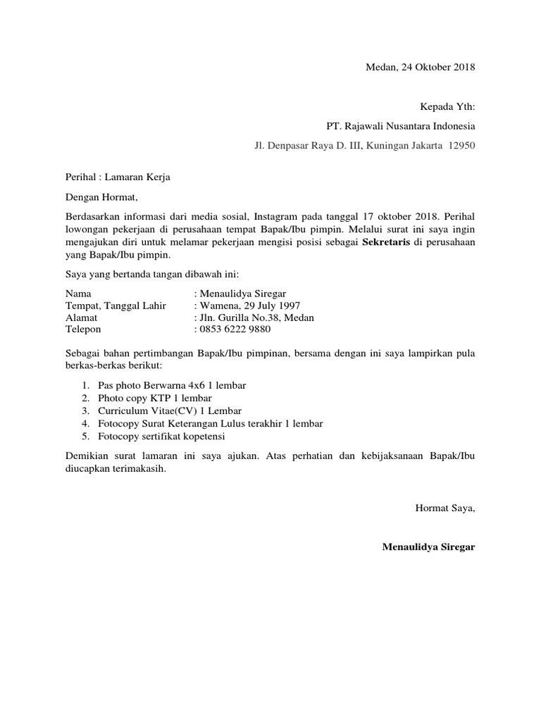 Surat Lamaran Kerja Pt Rni Docx