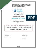 Elaboration D'Un Plan de Protection de L'Installation Sea-Line de La Station de Pompage Sonatrach Bejaia.