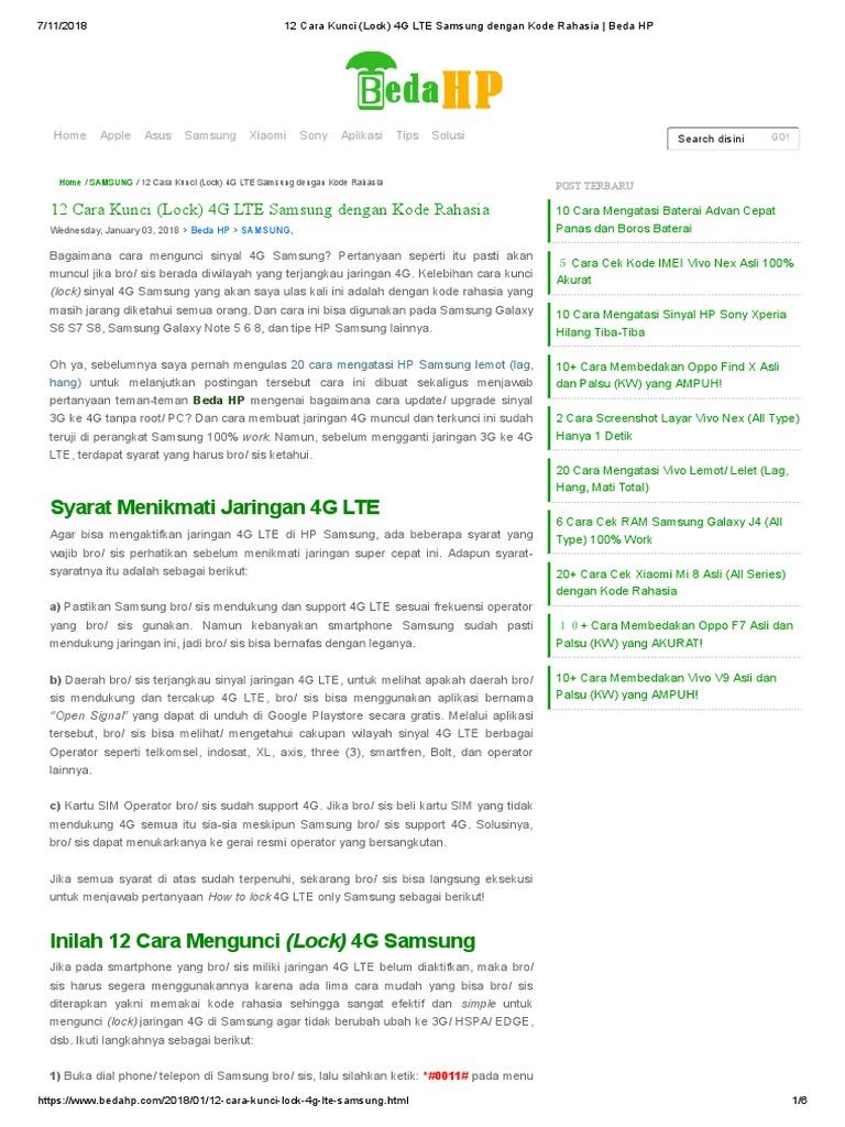 12 Cara Kunci (Lock) 4G LTE Samsung dengan Kode Rahasia _ Beda HP pdf