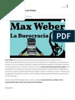 Teoría de la Burocracia de Max Weber - Resumen.