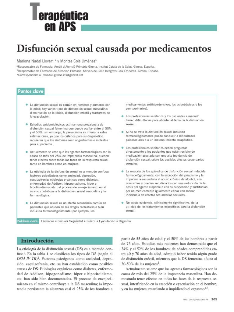 disfuncion erectil por medicamentos