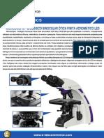 Microscópio Biológico - Binocular Ótica Finita Acromático LED