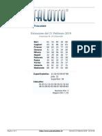 Estrazioni del Lotto Italiano di giovedi 21 Febbraio 2019
