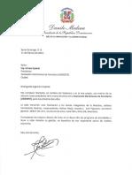 Carta de felicitación del presidente Danilo Medina a Arturo Espinal con motivo de su elección como presidente de ASODEFE
