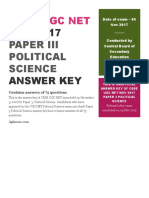 NET Answer Key Paper 3 Political Science