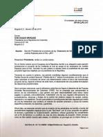 Carta de la U al presidente sobre la JEP
