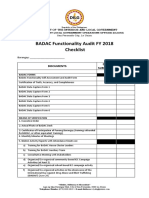 BADAC Functionality Audit FY 2018 Checklist