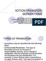 Promotion Transfer Separations