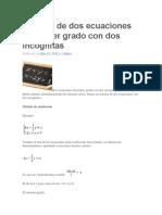 Sistema de Dos Ecuaciones de Primer Grado Con Dos Incógnitas