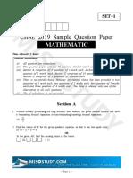 CBSE 10th Mathematics Sample Paper 2019 Question Paper