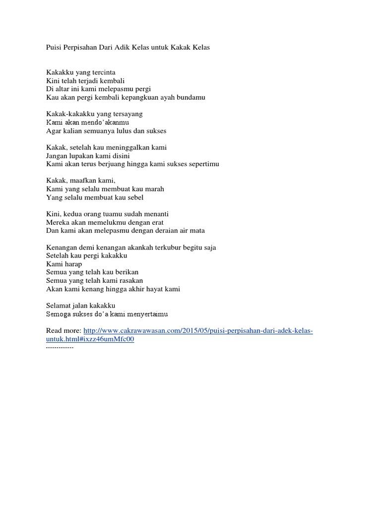 Puisi Perpisahan Dari Adik Kelas Untuk Kakak Kelas