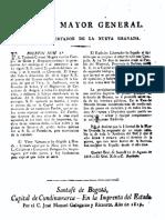 1819 Boletín nº 5 Estado Mayor patriota