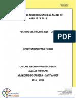 Plan de desarrollo Cabrera 2016
