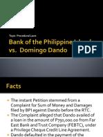 BPI vs. Dando and Icard vs. Mun. of Baguio