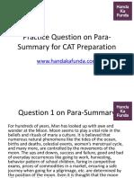 Para Summary for CAT Preparation