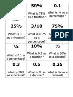 Loop Game Fractions Decimals Percentages