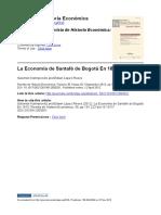 """Kalmanivitz y Lopera. """"La economía de Santafé de Bogotá en 1818"""". Revista de Historia Económica. Vol. 30, No. 2, septiembre 2012, pp. 191-223."""