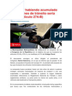 Conducir habiendo acumulado infracciones de tránsito sería delito (artículo 274-B)