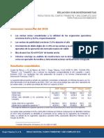 RELACIÓN CON INVERSIONISTAS RESULTADOS DEL CUARTO TRIMESTRE Y AÑO COMPLETO 2018 PARA PUBLICACIÓN INMEDIATA