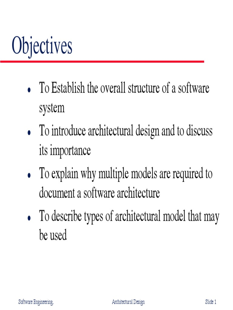 Objectives Software Engineering Architectural Design Slide 1 Software Architecture Object Oriented Programming Free 30 Day Trial Scribd