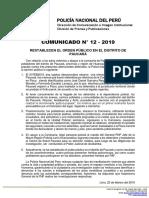 COMUNICADO PNP N° 12 - 2019