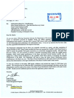 DEP R. Bellas Withdrawal of opinion regarding Synagro Sedimentation Basin #2 Plainfield Township