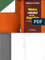Historia de la música colonial en la Argentina
