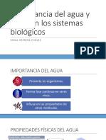 Importancia del agua en sistemas biologicos