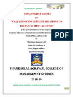 Analysis of Investment Options MBA Project_shubham Kumar Lall