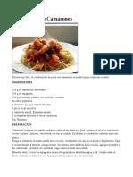 Espaguetis Con Camarones receta