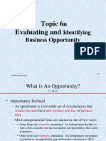 Topic 6a Evaluating and Identifying Business Opportunity