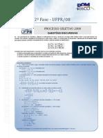 Física - UFPR 2008 2F Comentada