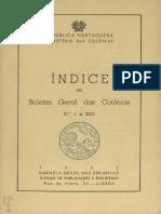 Índice do Boletim Geral das Colónias N.os 1 a 200