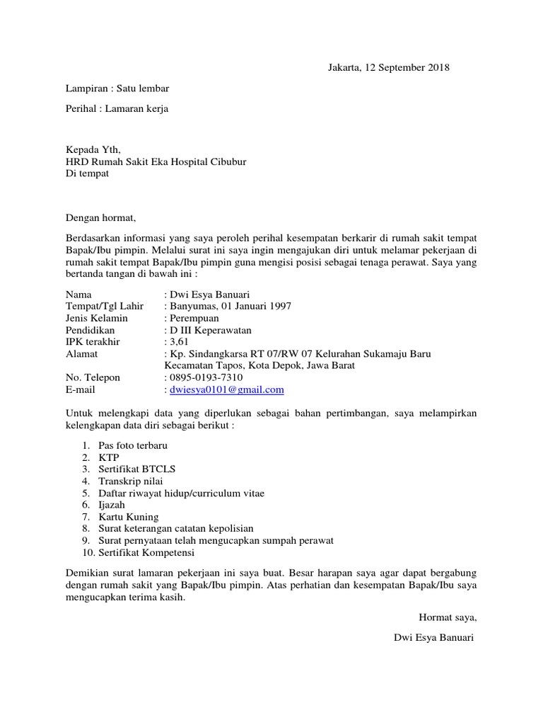 Surat Lamaran Kerja Rs Eka Hospital