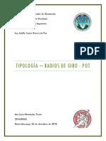 Tipología, Radios de Giro y POT