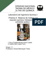 Práctica 3 Balance de Materia Con Reacción Química Hidratación de Anhídrido Acético